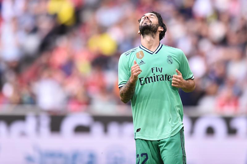 MUNICH, GERMANY - JULY 31: Isco of Real Madrid reacts during the Audi cup 2019 3rd place match between Real Madrid and Fenerbahce at Allianz Arena on July 31, 2019 in Munich, Germany. (Photo by Lukasz Laskowski/PressFocus/MB Media/Getty Images)