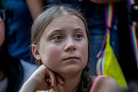 FILE PHOTO: Swedish activist Greta Thunberg participates in a youth climate change protest in front of the United Nations Headquarters in Manhattan