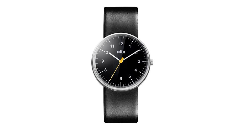 Braun Classic Stainless Steel Leather Strap Watch
