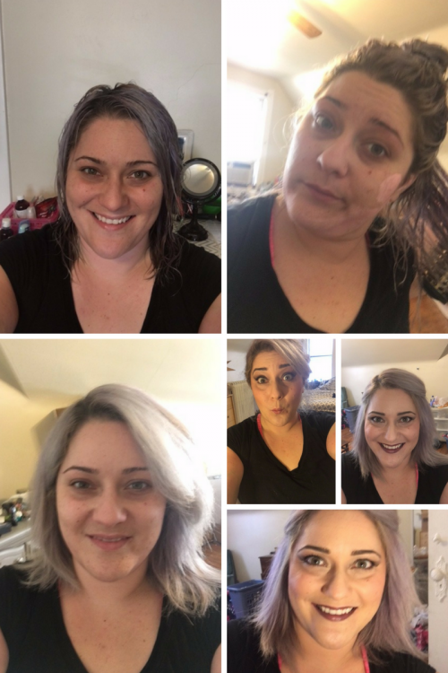 collage of photos of woman with and without makeup