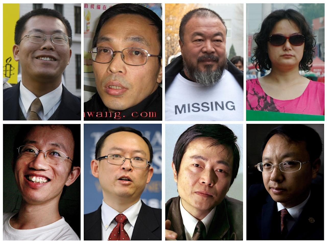 This combination of eight file photos shows a collection of Chinese activists and dissidents who have all commented on the current diplomatic dispute involving Chinese legal activist Chen Guangcheng. From top left to right are: Teng Biao, Li Jinsong, Ai Weiwei, Liu Shasha; and on the bottom, from left to right, Hu Jia, Yu Jie, Huang Qi, and Liu Xiaoyuan. (AP Photos)