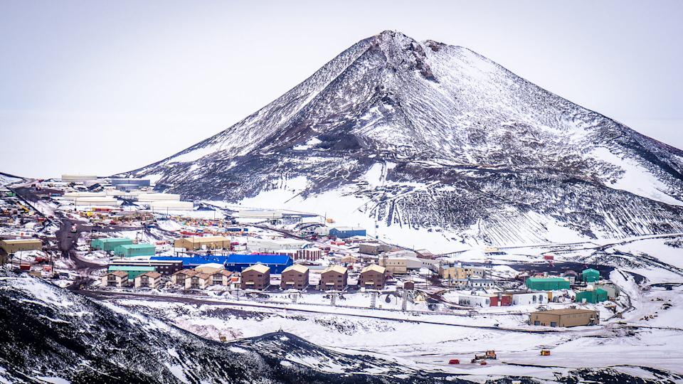 McMurdo base and Observation Hill, Antarctica - Image.