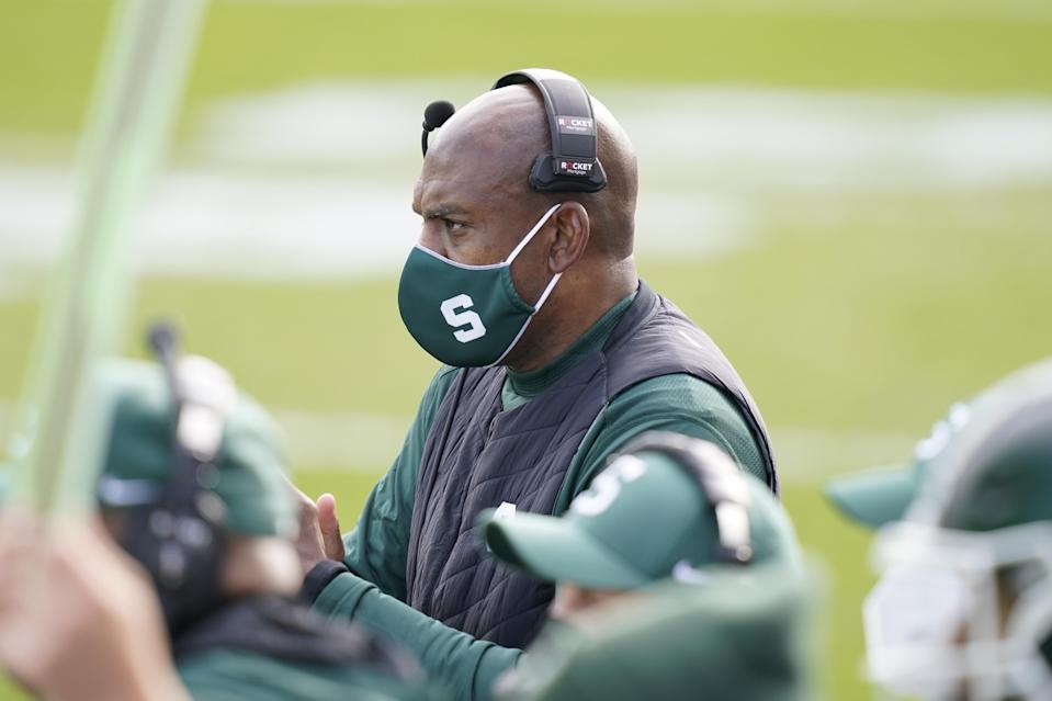 Michigan State head coach Mel Tucker is seen during the first half of an NCAA college football game against Indiana, Saturday, Nov. 14, 2020, in East Lansing, Mich.