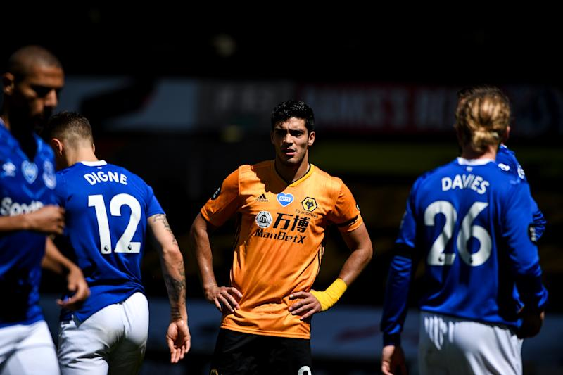WOLVERHAMPTON, ENGLAND - JULY 12: Raul Jimenez of Wolverhampton Wanderers during the Premier League match between Wolverhampton Wanderers and Everton FC at Molineux on July 12, 2020 in Wolverhampton, United Kingdom. Football Stadiums around Europe remain empty due to the Coronavirus Pandemic as Government social distancing laws prohibit fans inside venues resulting in all fixtures being played behind closed doors. (Photo by Sam Bagnall - AMA/Getty Images)