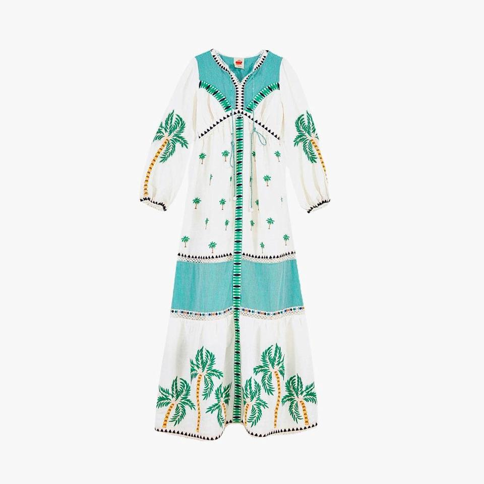 """$425, FARM RIO. <a href=""""https://www.farmrio.com/collections/dresses/products/palm-tree-embroidered-dress"""" rel=""""nofollow noopener"""" target=""""_blank"""" data-ylk=""""slk:Get it now!"""" class=""""link rapid-noclick-resp"""">Get it now!</a>"""