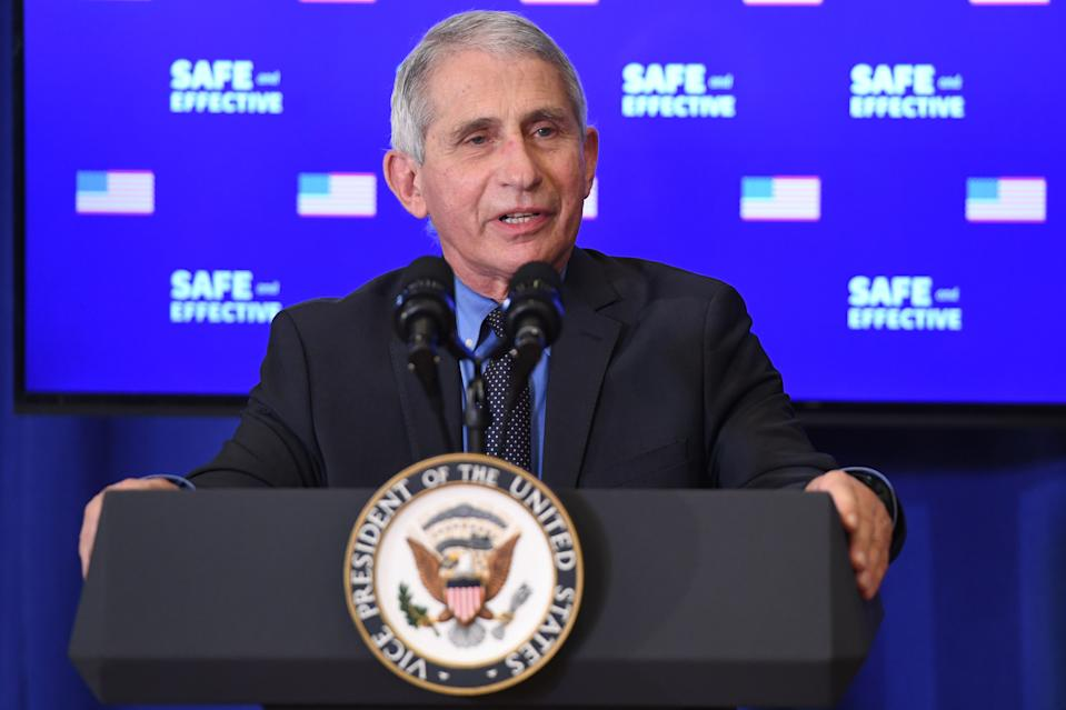 Director of the National Institute of Allergy and Infectious Diseases Anthony Fauci speaks after US Vice President Mike Pence received the COVID-19 vaccine in the Eisenhower Executive Office Building in Washington, DC, December 18, 2020. (Saul Loeb/AFP via Getty Images)