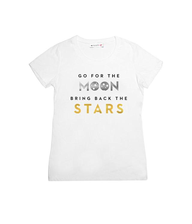 "Milly Go for the Moon tee, $75, <a href=""http://www.milly.com/go-for-the-moon-tee.html"" rel=""nofollow noopener"" target=""_blank"" data-ylk=""slk:milly.com"" class=""link rapid-noclick-resp"">milly.com</a>"