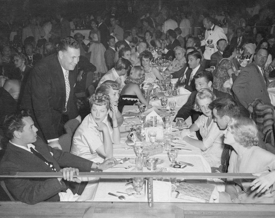 <p>A Las Vegas nightclub imported a whole host of Hollywood stars for a banquet in 1950. Among the guests were Desi Arnaz, Lucille Ball, Marlene Dietrich, Montgomery Clift, and Rosemary Clooney. </p>