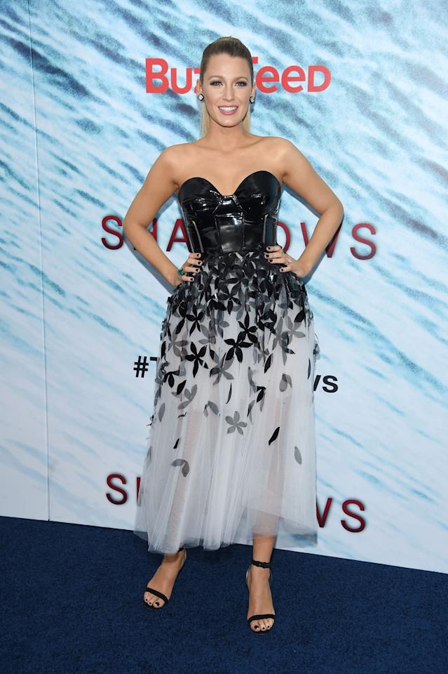 <p>The actress showed up at the NYC premiere of her new film wearing a Carolina Herrera gown with a twist: Boosting a cone-shaped leather bodice (Madonna would be proud), an embellished tulle skirt and black nail polish, the pregnant starlet showed how to mix fairytale with rock chic effortlessly. <i>[Photo: Getty]</i><br /></p>