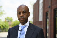 Tennessee State Rep. Harold Love, Jr. is shown at his church which he pastors, Monday, July, 19, 2021, on the north side of Nashville, Tenn. Love Jr.'s father, a Nashville city councilman, was forced to sell his family home nearby to make way for the highway, but put up a fight in the 1960s against the rerouting of Interstate 40 because he believed it would stifle and isolate Nashville's Black community. Love Jr. is now part of a group pushing to build a cap across the highway that creates a community space to help reunify the city. (AP Photo/John Amis)
