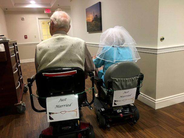 PHOTO: John Cook Sr., 100 and Phyllis Cook, 103, held an Aug. 26, 2019, wedding reception at the assisted living facility where they met. (Emily Roach/Kingston Residence of Sylvania)