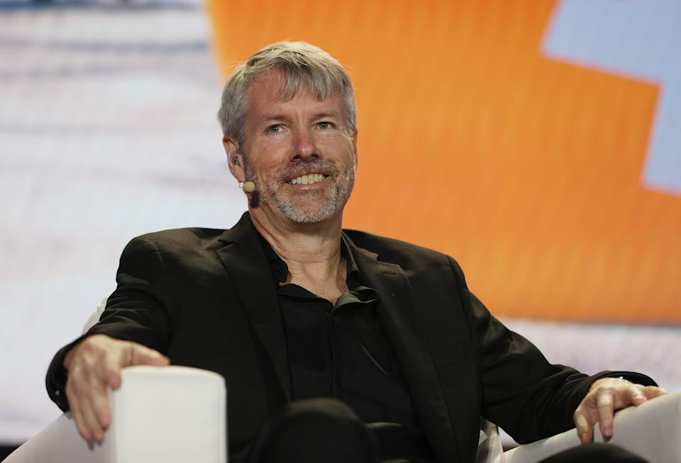 MicroStrategy CEO Michael Saylor speaks at the Bitcoin 2021 Convention at the Mana Convention Center in Wynwood in Miami, Florida, US, on 4 June. Photo: Joe Raedle/Getty Images
