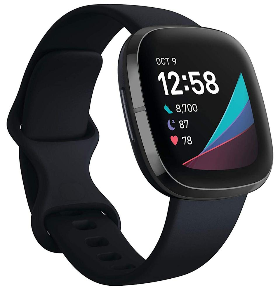 """<p><strong>Fitbit</strong></p><p>amazon.com</p><p><strong>$199.95</strong></p><p><a href=""""https://www.amazon.com/dp/B08DFCWVZ4?tag=syn-yahoo-20&ascsubtag=%5Bartid%7C10054.g.36716381%5Bsrc%7Cyahoo-us"""" rel=""""nofollow noopener"""" target=""""_blank"""" data-ylk=""""slk:Buy"""" class=""""link rapid-noclick-resp"""">Buy</a></p><p><strong>Save 34% with Prime</strong></p><p>The Fitbit Sense also tracks sleep, plus a load of other health metrics (like heart rate, ECG, and calories burned), plus your smartphone notifications and location, <em>plus</em> any Google Assistant or Amazon Alexa commands you might make regular use of.</p>"""
