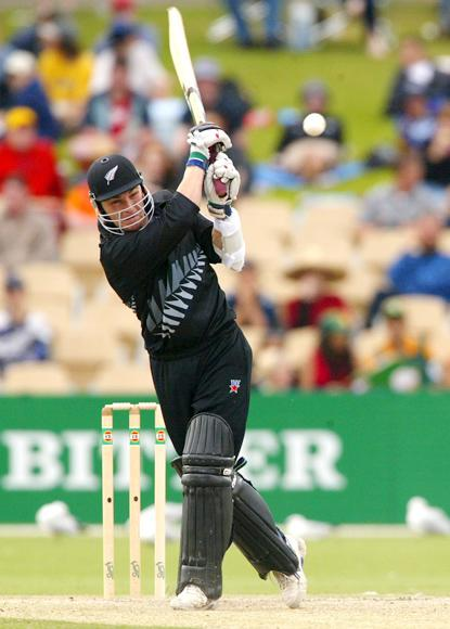 27 Jan 2002:  Brendan McCullum of New Zealand hits out, during the VB Series One Day International between South Africa and New Zealand played at the Adelaide Oval, Adelaide, Australia. DIGITAL IMAGE. Mandatory Credit: Hamish Blair/Getty Images