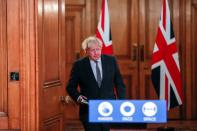 Britain's PM Johnson holds a news conference at Downing Street in London