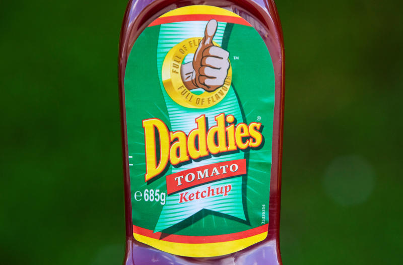 A squeezy bottle of Daddies Tomato Ketchup. An 18-month-old toddler was left covered in an horrific red rash over her body which ' looked like burn marks' after accidentally squirting tomato ketchup on herself. (SWNS)
