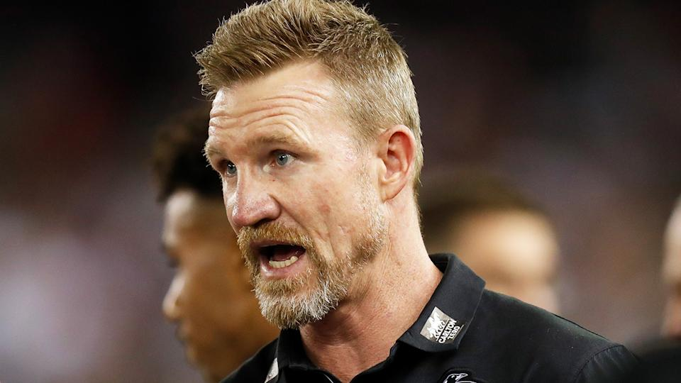 Some senior players have reportedly 'grown weary' of Collingwood coach Nathan Buckley. (Photo by Michael Willson/AFL Photos via Getty Images)