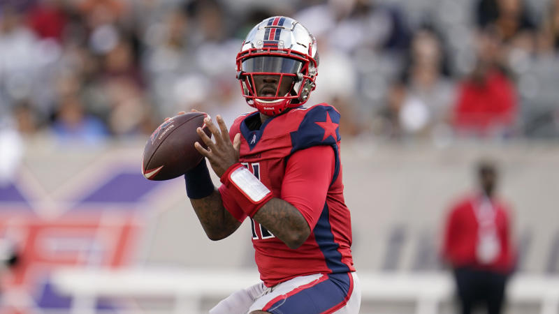 Houston Roughnecks quarterback P.J. Walker (11) looks to pass during an XFL football game, Saturday, Feb. 8, 2020, in Houston. (AP Photo/Matt Patterson)