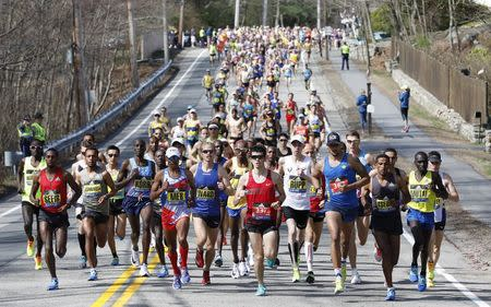 A general view as the elite men lead the field in the 2017 Boston Marathon. Greg M. Cooper-USA TODAY Sports