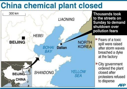 Map of China locating Dalian, where thousands of people took to the streets at the weekend to demand the shutdown of a chemicalplant over pollution fears