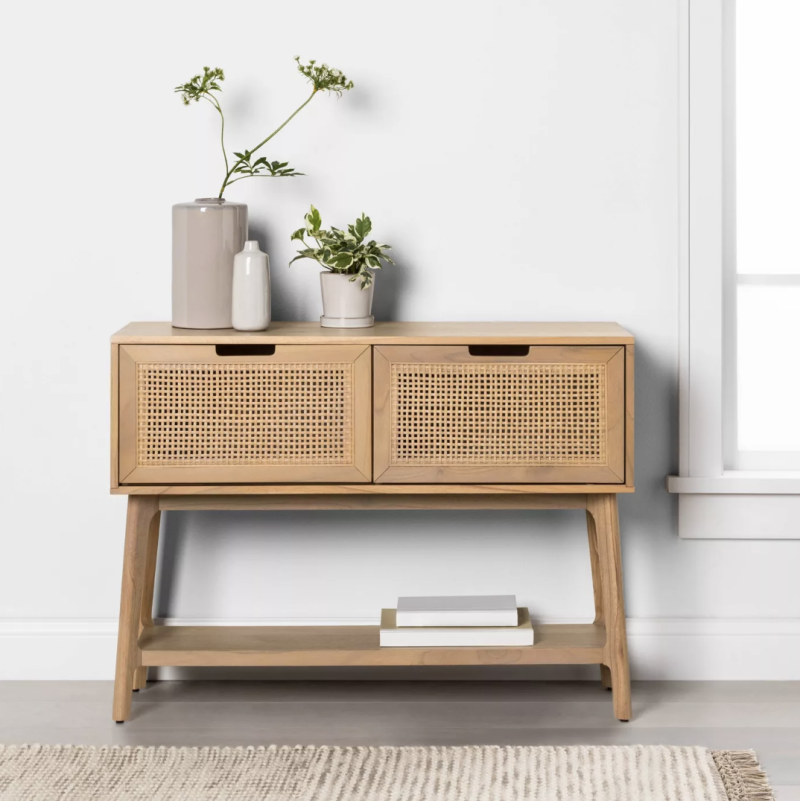 Wood & Cane Console Table with Pull-Down Drawers (Credit: Target)