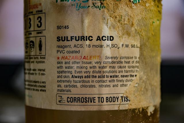 <p>The label on the bottle of acid looks like it's been corroded by time. (Photo: Leland Kent/Caters News) </p>
