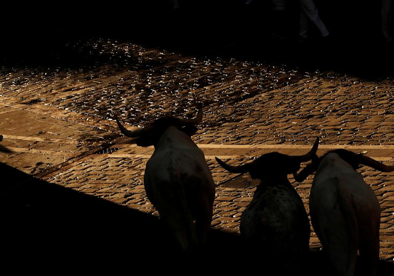Steers run during the running of the bulls at the San Fermin festival in Pamplona, Spain, July 11, 2019. (Photo: Susana Vera/Reuters)