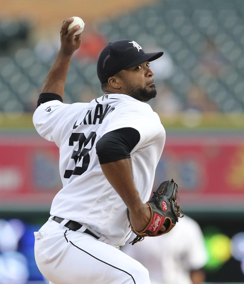 Detroit Tigers starting pitcher Francisco Liriano throws during the first inning of a baseball game against the Cleveland Indians, Tuesday, May 15, 2018, in Detroit. (AP Photo/Carlos Osorio)