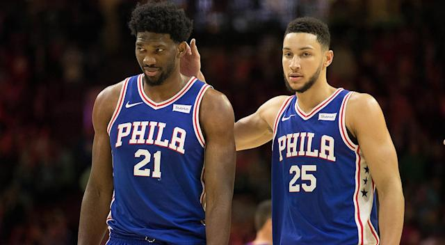 "<a class=""link rapid-noclick-resp"" href=""/nba/players/5294/"" data-ylk=""slk:Joel Embiid"">Joel Embiid</a> and <a class=""link rapid-noclick-resp"" href=""/nba/players/5600/"" data-ylk=""slk:Ben Simmons"">Ben Simmons</a> are giving Sixers fans reason to hope."