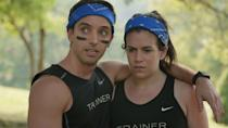 """<p><strong>For Abbi:</strong> You might as well wear matching outfits from Soulstice, right? Get a black Nike tank top, write the word """"Trainer"""" across the front, and wrap a blue bandana around your ponytail.</p> <p><strong>For Trey:</strong> A black Nike tank top with the word """"Trainer"""" like Abbi's, with a blue bandana and some eye black. Make sure you pair the top with athletic shorts and sneakers.</p>"""