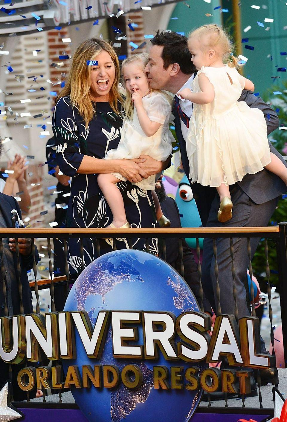 """<p><strong>Children</strong>: Winnie Rose Fallon (6) and Frances Cole Fallon (5) </p><p>One thing the comedian and late-night host takes seriously? Raising his <a href=""""https://www.oprahmag.com/entertainment/tv-movies/a31927410/jimmy-fallon-kids/"""" rel=""""nofollow noopener"""" target=""""_blank"""" data-ylk=""""slk:adorable two daughters"""" class=""""link rapid-noclick-resp"""">adorable two daughters</a> with his wife <a href=""""https://www.oprahmag.com/entertainment/a32012122/jimmy-fallon-wife/"""" rel=""""nofollow noopener"""" target=""""_blank"""" data-ylk=""""slk:Nancy Juvonen"""" class=""""link rapid-noclick-resp"""">Nancy Juvonen</a>. Luckily for all of us who love seeing famous dads and their children, Winnie and Frances are making more frequent appearances on the improvised <a href=""""https://www.youtube.com/watch?v=ryh3e9_8vVk"""" rel=""""nofollow noopener"""" target=""""_blank"""" data-ylk=""""slk:The Tonight Show: &quot;At Home Edition,&quot;"""" class=""""link rapid-noclick-resp""""><em>The Tonight Show: </em>""""At Home Edition,""""</a> amid the ongoing coronavirus pandemic.</p>"""