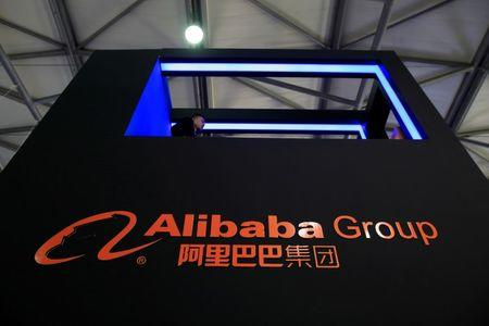 A sign of Alibaba Group is seen at CES Asia 2016 in Shanghai