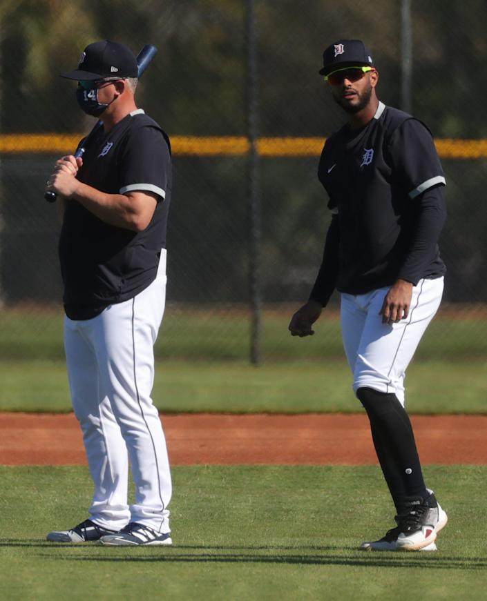 Detroit Tigers manager A.J. Hinch and infielder Willi Castro on Tuesday, Feb. 23, 2021 on the Tiger Town practice fields in Lakeland, Florida.