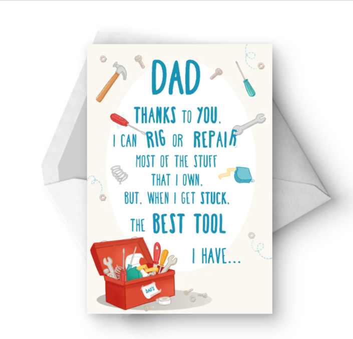 """<p>This card is a special way to say thank you for all the skills your father has passed on... and his willingness to pick up the phone when you still can't figure something out. </p><p><strong><em>Get the printable at <a href=""""https://www.greetingsisland.com/preview/cards/special-dial-for-dad/94-6315"""" rel=""""nofollow noopener"""" target=""""_blank"""" data-ylk=""""slk:Greetings Island"""" class=""""link rapid-noclick-resp"""">Greetings Island</a>.</em></strong></p>"""