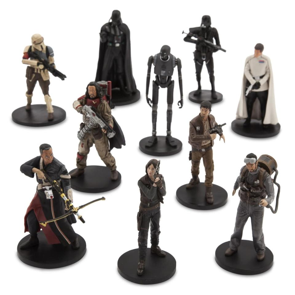 <p>This 10-piece set of posed figures includes all the heroes and plenty of villains: Director Krennic, Death Trooper, Shoretrooper, and Darth Vader himself. <i>($24.95)</i></p>