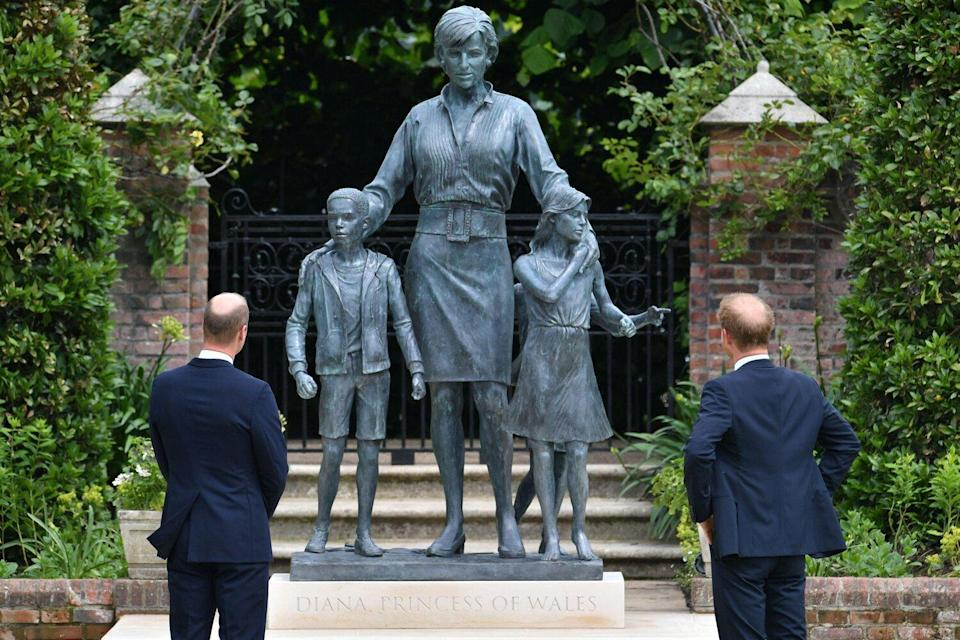 The Duke of Cambridge and Duke of Sussex arrive for the unveiling of a statue they commissioned of their mother Diana, Princess of Wales