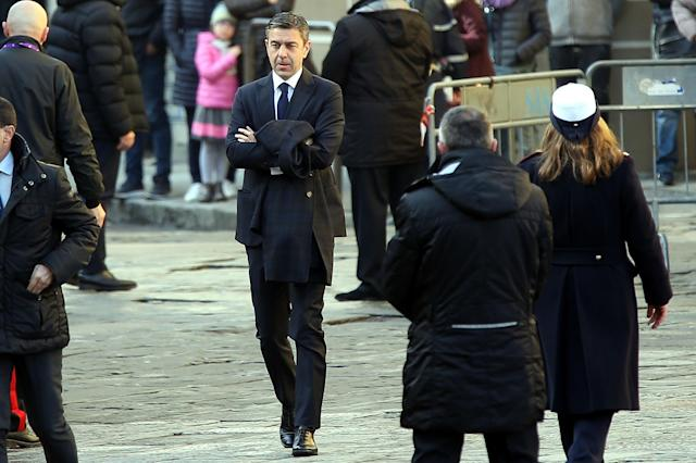 <p>Alessandro Costacurta sub commiser of FIGC ahead of a funeral service for Davide Astori on March 8, 2018 in Florence, Italy. The Fiorentina captain and Italy international Davide Astori died suddenly in his sleep aged 31 on March 4th, 2018. (Photo by Gabriele Maltinti/Getty Images) </p>