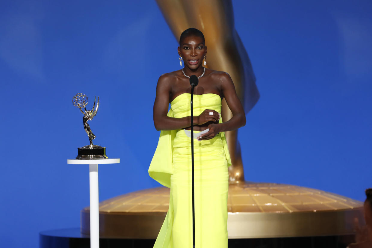 Michaela Coel accepts her award for Outstanding Writing in a Limited Series at the 73rd Emmy Awards.