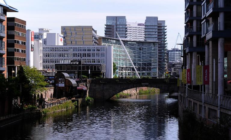 A general view of buildings on the river Irwell in the City of Manchester, north-west England is pictured on May 5, 2011