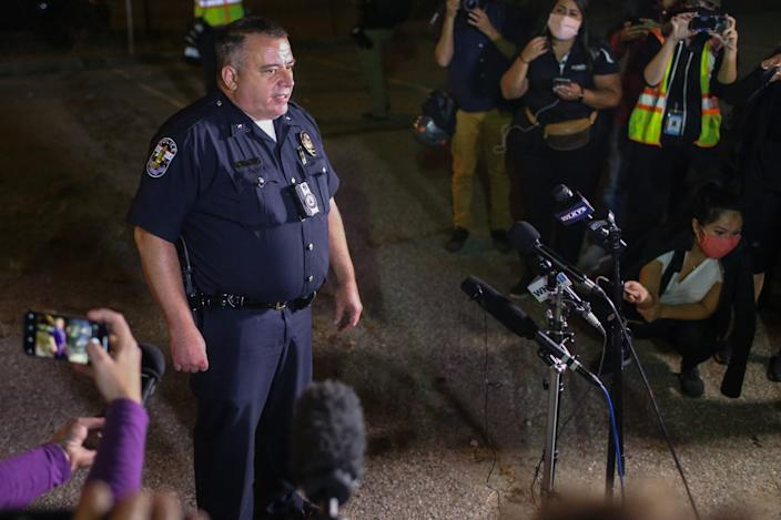 """Louisville Assistant Chief of Police Robert Schroeder speaks at a press conference near the University of Louisville Hospital. <p class=""""copyright"""">Daniel Shular</p>"""