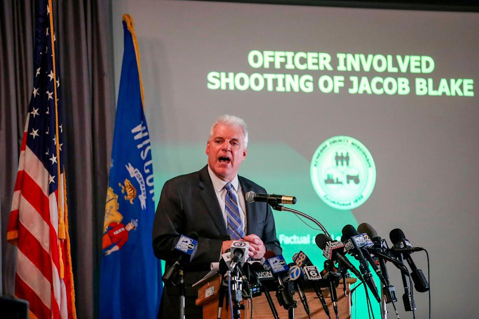 Kenosha District Attorney Michael Graveley announces that no charges will be filed in the shooting of Jacob Blake and no charges will be filed against Jacob Blake on Jan. 5, 2021.  (Photo: KAMIL KRZACZYNSKI/AFP via Getty)