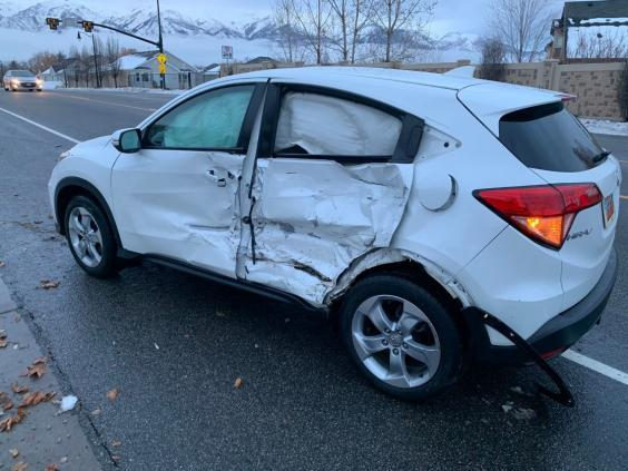 17-year-old girl crashed her truck into a car while doing the Bird Box challenge (Layton Police Department)
