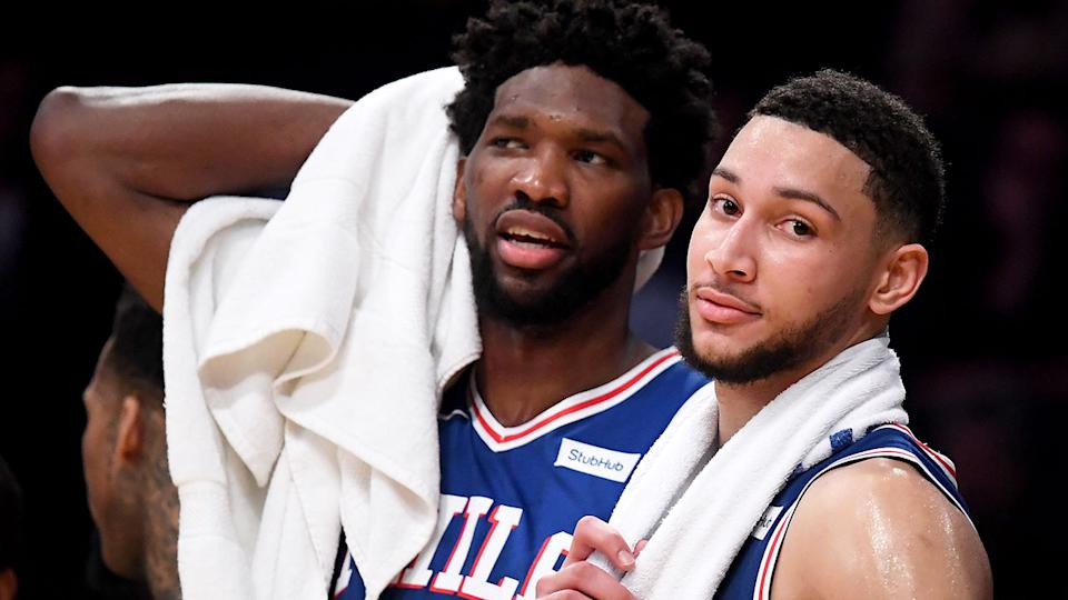 Pictured here, much is expected of stars Ben Simmons and Joel Embiid at the 76ers.