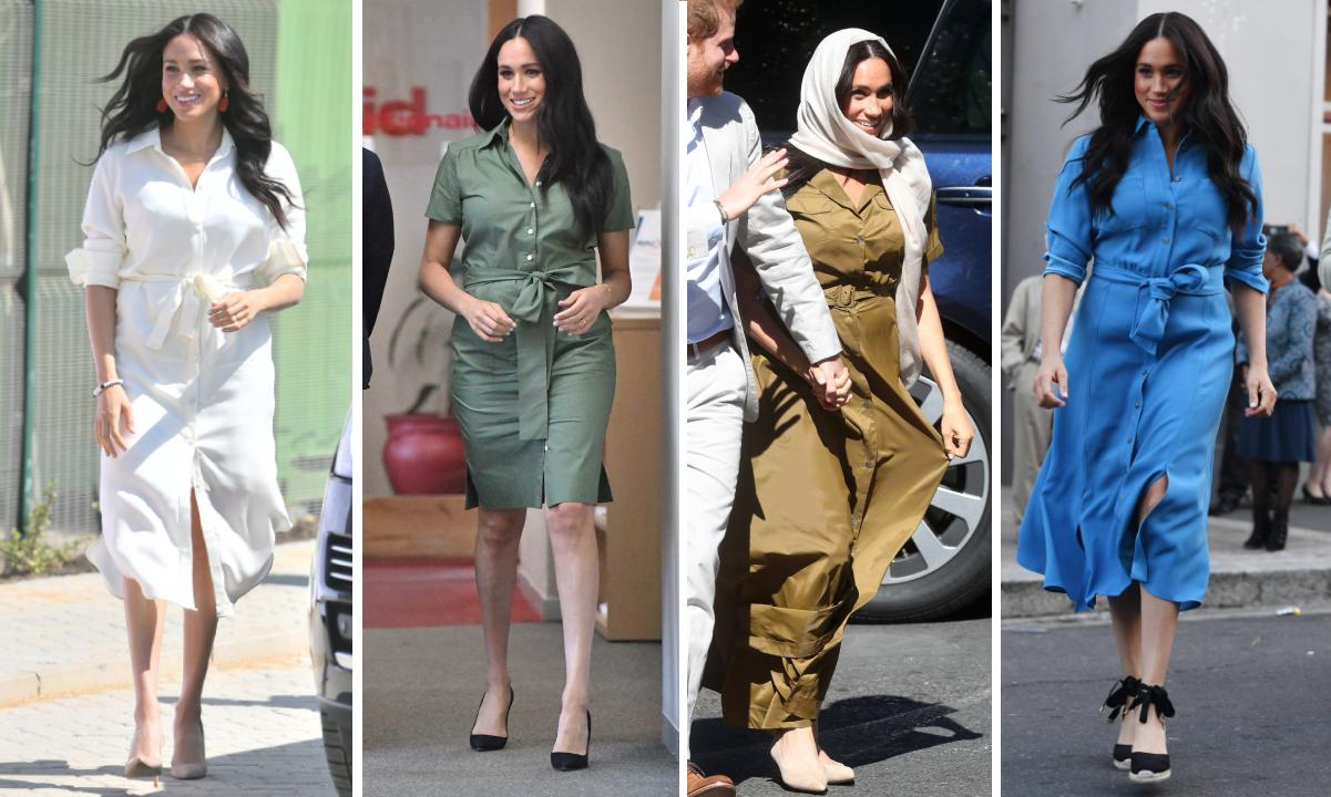 Meghan Markle has worn a shirt dress on four seperate occasions over the 10-day tour. [Photos: Getty]