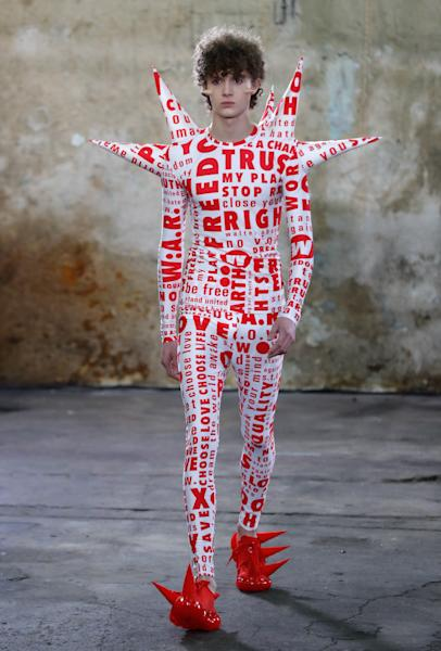 Walter Van Beirendonck offered a much more committed message with a plethora of defensive spikes, and slogans like 'Save planet earth.' Paris, January 15, 2020.