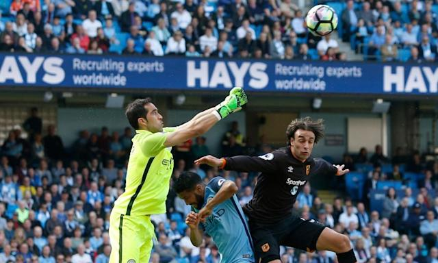 "<span class=""element-image__caption"">Claudio Bravo vies for an aerial ball with Hull City's Lazar Markovic, while Gaël Clichy takes evasive action.</span> <span class=""element-image__credit"">Photograph: Ed Sykes/Reuters</span>"