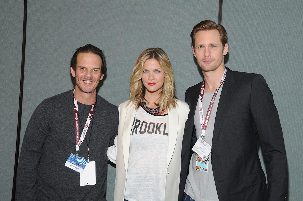 "Peter Berg, Brooklyn Decker and Alexander Skarsgard attend the ""Battleship"" conference at WonderCon 2012 - Day 1 at Anaheim Convention Center on March 17, 2012 in Anaheim, California."