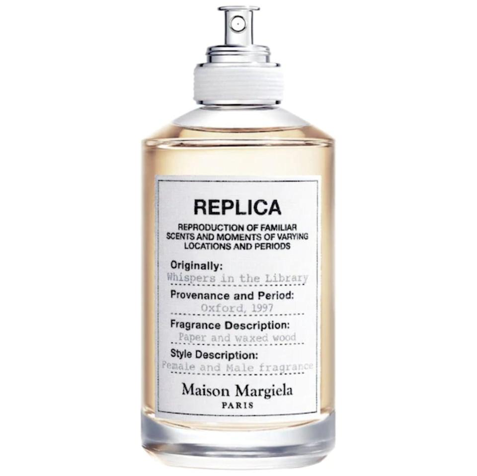 <p>The familiar scent of books and waxed, wooden furniture are captured in <span>Maison Margiela REPLICA Whispers In The Library</span> ($130). It's warm, woody, and spicy with key notes of pepper, vanilla, and cedar.</p>