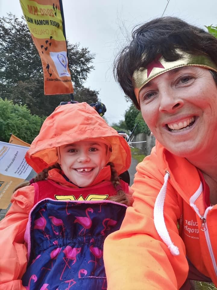 Carmela and her mother Lucy during the challenge (Muscular Dystrophy UK/PA).