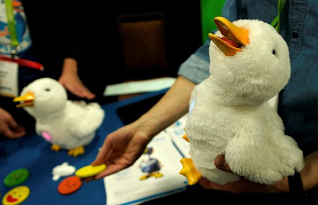A robotic My Special Aflac Duck, for children facing cancers, is demonstrated at CES in Las Vegas, Nevada, U.S. January 7, 2018. REUTERS/Rick Wilking